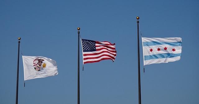 bendera chicago illnois amerika serikat